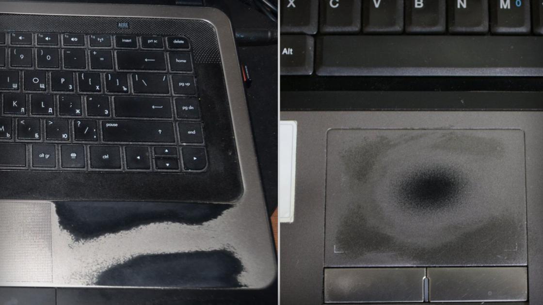 Окрашенные детали ноутбука со временем протираются