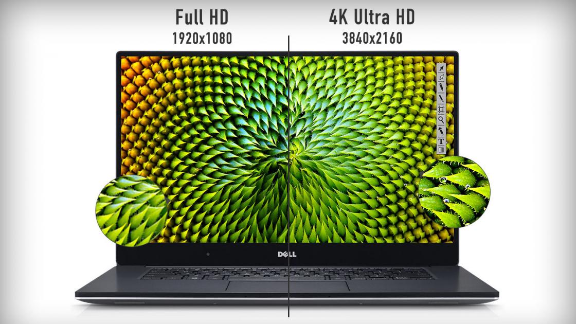 Сравнение разрешений экрана ноутбука - Full HD (1920х1080) и 4K Ultra HD (3840x2160)
