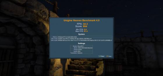 Обзор игрового ноутбука Dell Inspiron 7567 - тест Unigine Heaven