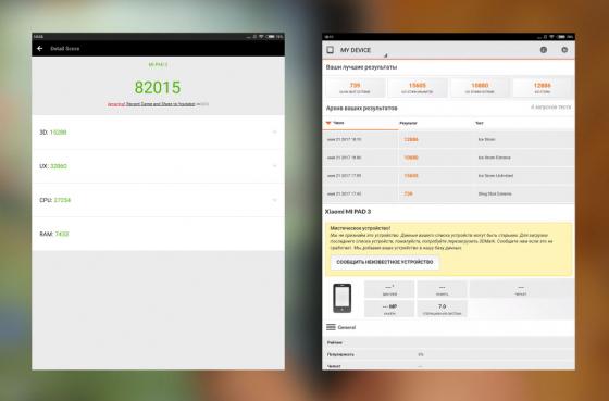 Обзор планшета Xiaomi Mi Pad 3 - синтетические тесты