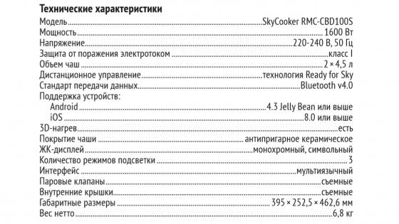 Подробные характеристики SkyCooker CBD100S фото 1
