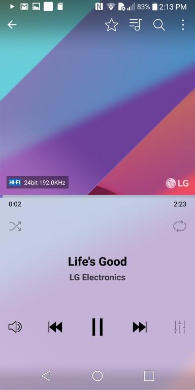 Обзор смартфона LG G6 - вид плеера