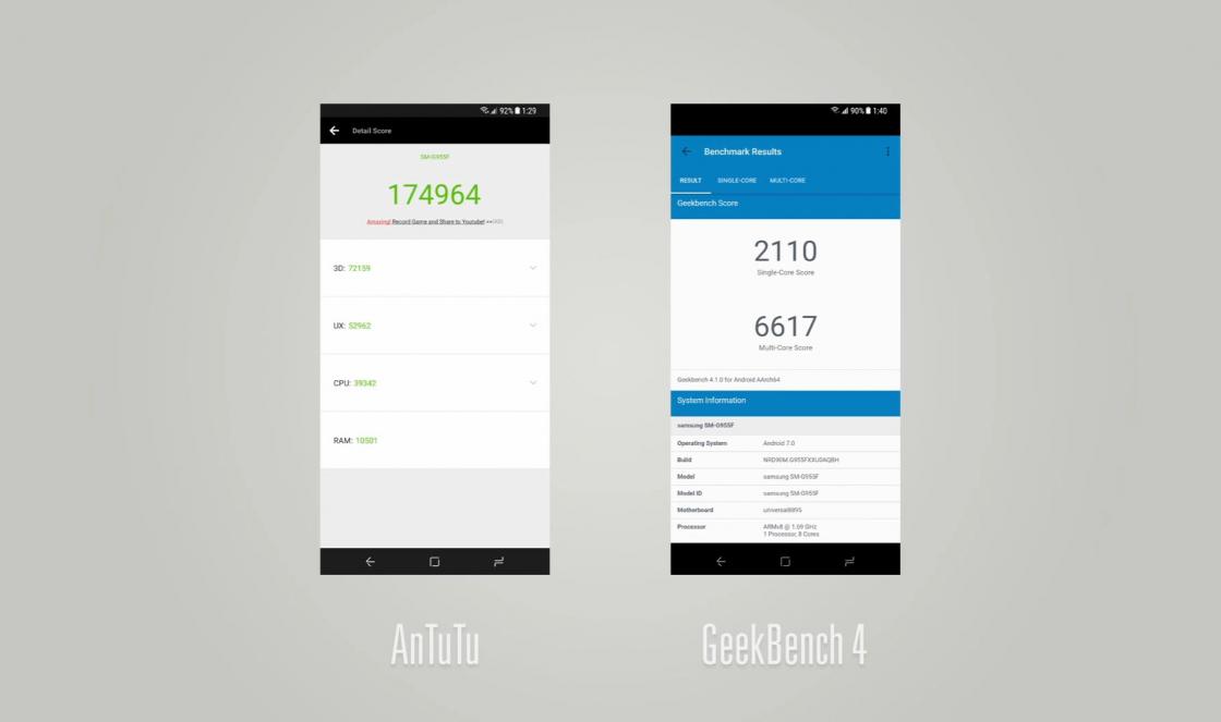 Обзор Samsung Galaxy S8 -174964 балов AnTuTu и 6617/2110 в Geekbench 4