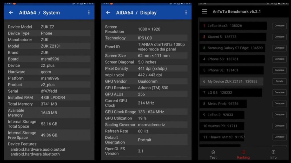 Обзор смартфона ZUK Z2 - тест производительности в AIDA64 и AnTuTu Benchmark v6.2.1