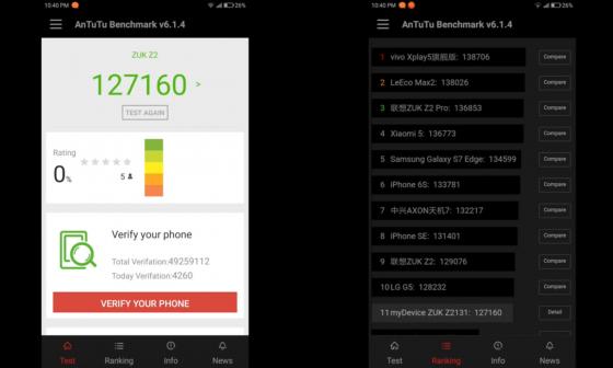 Обзор смартфона ZUK Z2 - тест производительности в AnTuTu Benchmark v6.1.4