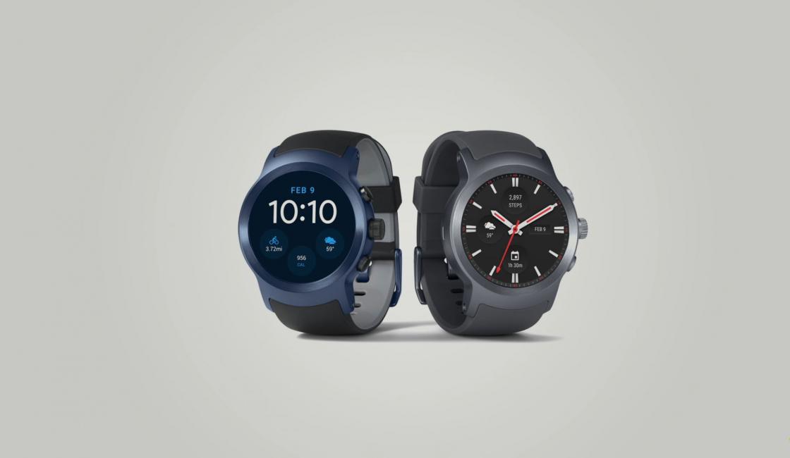 Обзор LG Watch Sport - синего и серого цвета