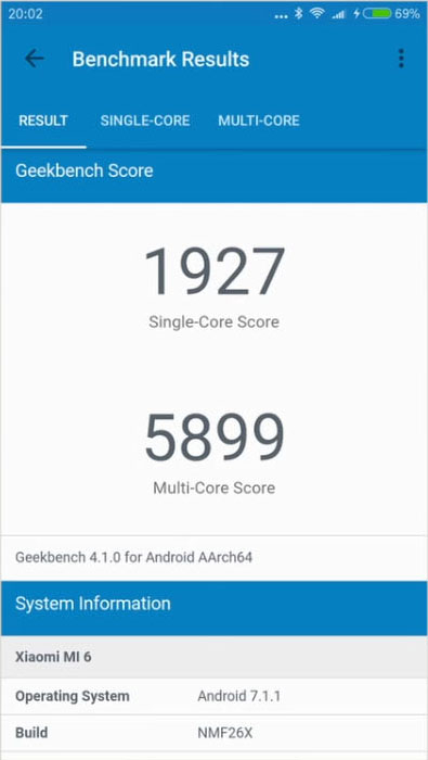 Результат geekbench 4.1.0 Xiaomi Mi 6